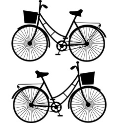 Vintage bicycles black silhouetteon a white vector image