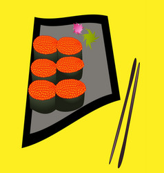 Vintage sushi poster design with sushi character vector