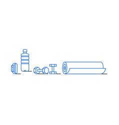 Water bottle dumbbells smart bracelet mat icon vector