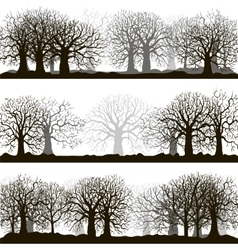 Winter forest silhouettes lanscapes vector