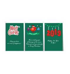 winter holidays cards with lettering and vector image