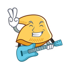 With guitar fortune cookie mascot cartoon vector
