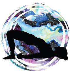 women silhouette bridge yoga pose setu bandha vector image
