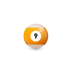 Yellow billiard ball number 9 vector