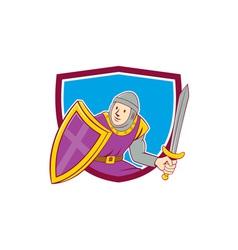 Medieval Knight Shield Sword Cartoon vector image vector image