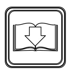 monochrome contour with button icon of book with vector image vector image