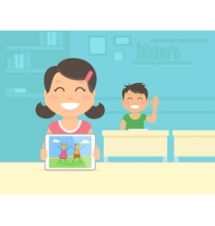 Young girl show her graphic on the vector image vector image