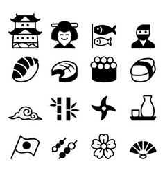 basic japanese icon set vector image
