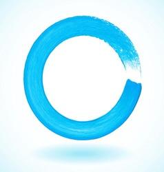 Bright blue paintbrush circle frame vector image
