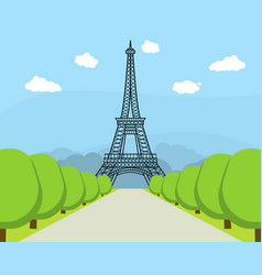 cartoon eiffel tower famous landmark of paris vector image