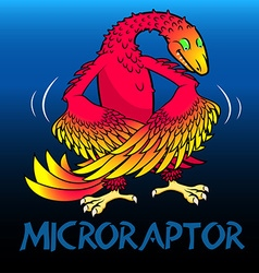 Microraptor cute character dinosaurs vector image