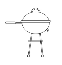 outline grill barbecue kettle camping vector image