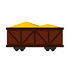 train cargo wagon icon flat style vector image