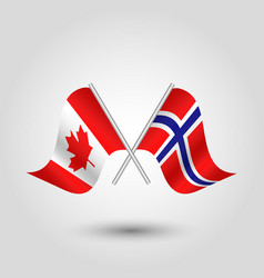 two crossed canadian and norwegian flags on vector image vector image