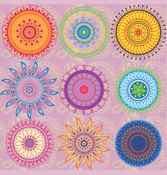 a set of 9-colored mandalas vector image vector image