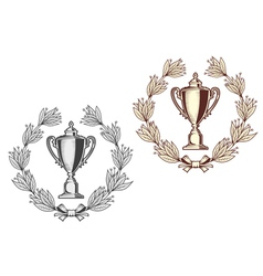 Award bowl with laurel wreath vector image vector image