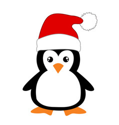 cute cartoon penguin on white background vector image vector image
