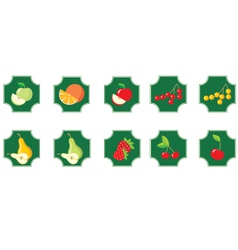 fruits set of icons vector image vector image