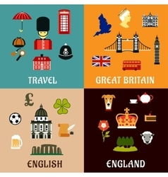 Great Britain travel landmarks flat icons vector image vector image
