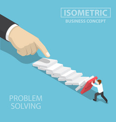 isometric 3d businessman trying to stop falling vector image vector image