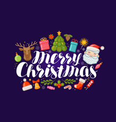 merry christmas banner or greeting card xmas vector image vector image