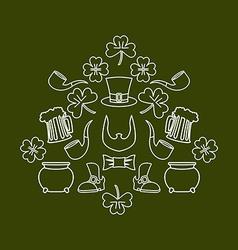 Patricks day Symbol set fo holiday in Ireland Pot vector image