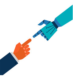 robotic and human hands connection vector image vector image