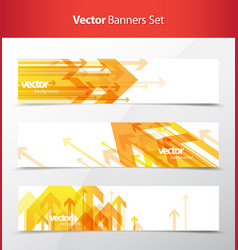 three abstract orange arrows background banners vector image vector image