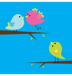 Three cartoon birds Card vector image vector image