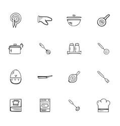 doodle kitchen accessories icons set vector image