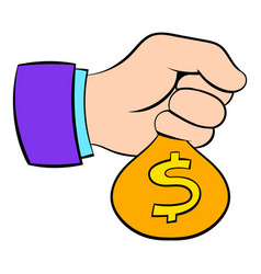 money in hand icon cartoon vector image vector image
