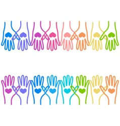 People colorful hands united with love to together vector image