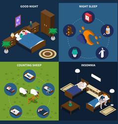 sleep time isometric design concept vector image vector image