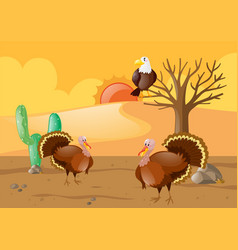 turkeys and eagle in desert vector image
