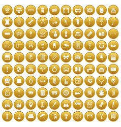 100 mirror icons set gold vector