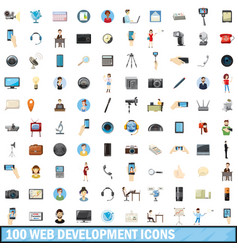 100 web development icons set cartoon style vector