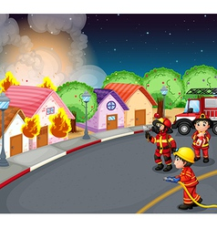 A fire at the village vector image vector image
