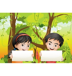 A girl and a boy with empty signages vector image