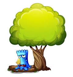 A monster crying under the tree vector image