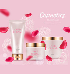 ad cosmetics poster realistic cream packaging vector image