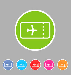 aircraft airplane ticket trip travel icon flat web vector image