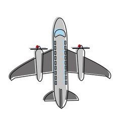 airplane with turbines vector image