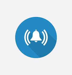 alarm bell Flat Blue Simple Icon with long shadow vector image