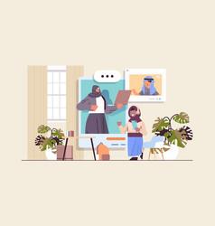 Arab schoolchildren in web browser windows vector