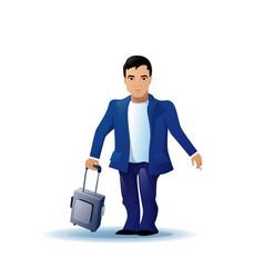 asian business man cartoon character run holding vector image