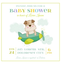 Baby shower or arrival card - dog in a plane vector