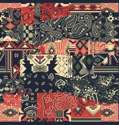 Bandana paisley and native american motifs fabric vector