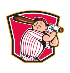 Baseball Player Batting Shield Cartoon vector image