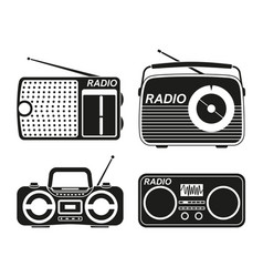black and white radio element silhouette set vector image