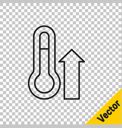 black line meteorology thermometer measuring icon vector image